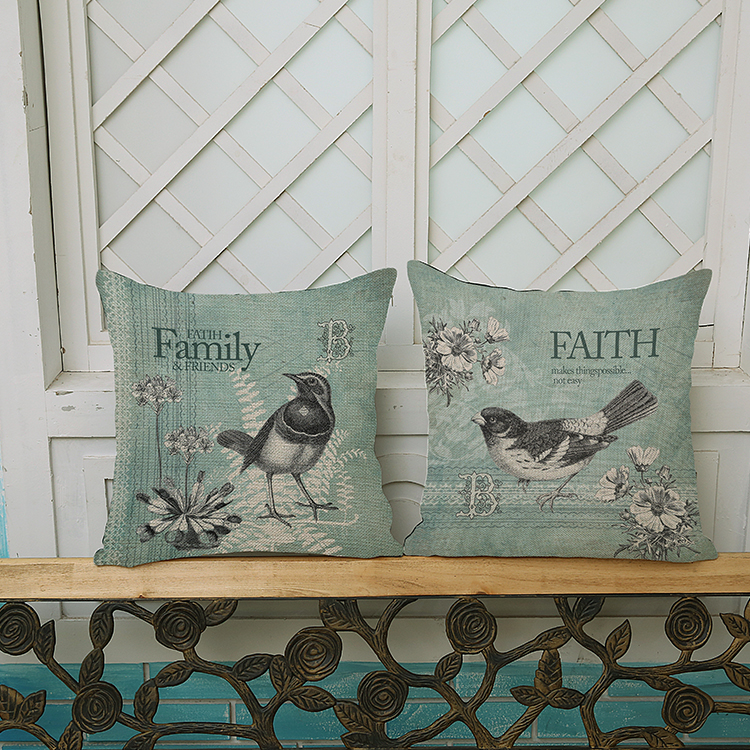 Free shipping Square Retro flowers and birds Pattern printing Luxury home Decorate Car sofa seat cushion cushions pillow