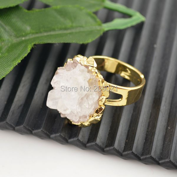 5Pcs/Lot Druzy Natural Crystal Drusy Rings Jewelry making 24 kt. Gold Plated Edge Jewelry Finding(China (Mainland))