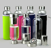 420ML  new sport outdoor Portable Real Borosilicate Glass Water Tea Bottle  Travel Mug Carafe Nylon Sleeve with Tea Infuser(China (Mainland))