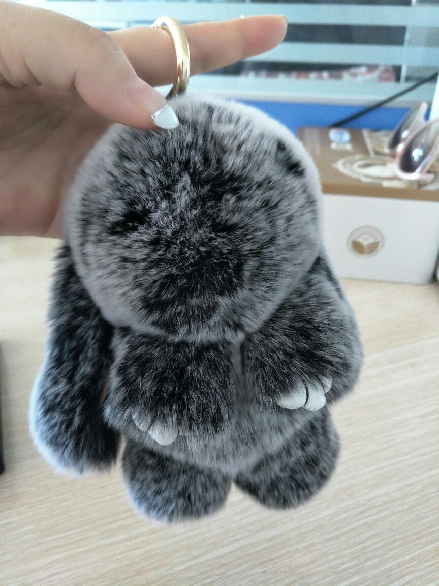 Real Puff Bunny Bag Charm Snow Frost Gray Fluffy Purse Charm Pompoms Rabbit Bunny Pendants Keychains Handbag Charm Accessories(China (Mainland))
