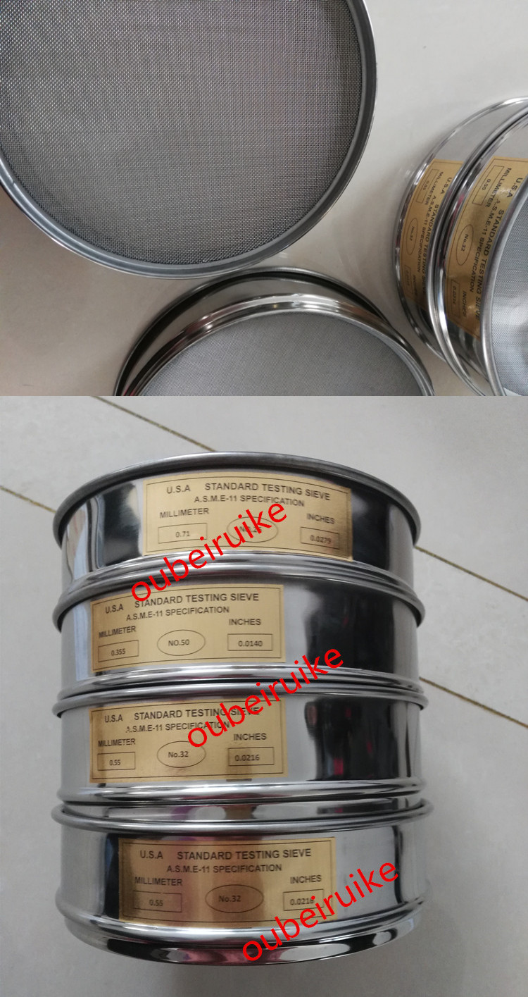 Diameter 200mm Woven Soil Test Sieve Standard Sample Screen Stainless Steel Pharmacopoeia Screen Sieve