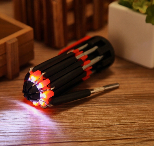 8 in 1 Multifunction Portable Screwdriver With LED Lights Screwdriver Set(China (Mainland))