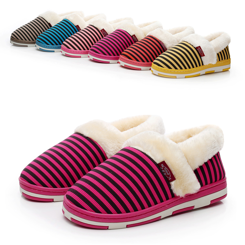 Knitted stripe package with lovers design slippers male cotton-padded slip-resistant women's at home slippers warm shoes(China (Mainland))