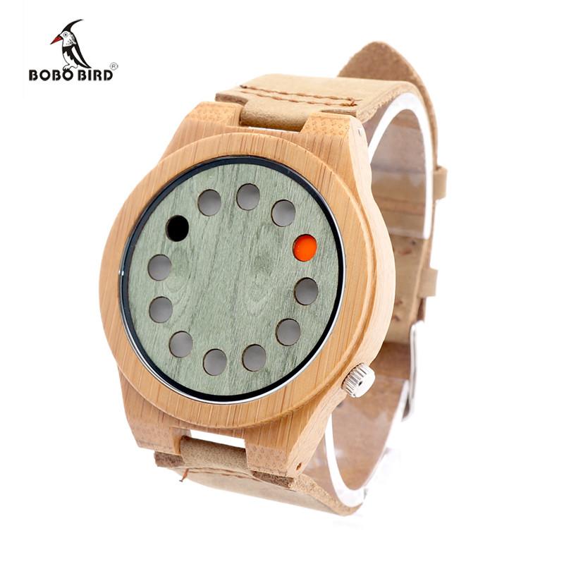 2016 Новый Модельер Мужские Часы Бизнес-Бамбук Деревянные Часы Люксовый Бренд БОБО ПТИЦА Повседневная Часы Relojes Hombre