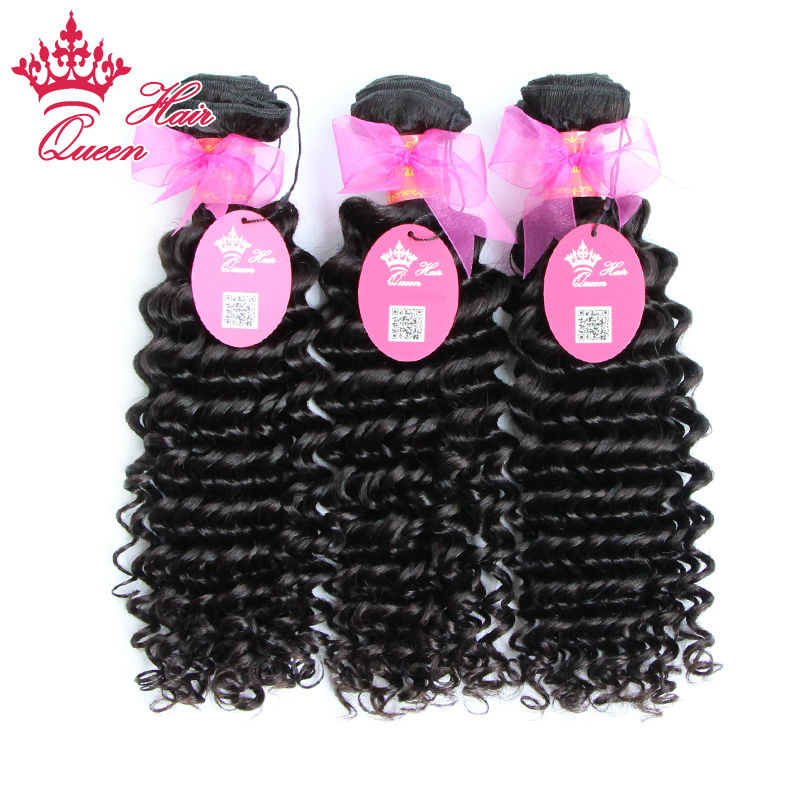 Queen Hair Products Hot Sale 8-30 3pcs lot Queen Hair Brazilian Deep Wave Curly Virgin Human Hair Weaves Can Be Dyed <br><br>Aliexpress
