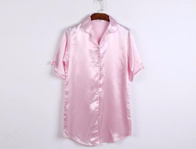 Новый сплошной цвет дам искусственной шелковый халат летом сексуальная короткие ночную рубашку ночная рубашка кимоно пижамы размер sml XL NB020