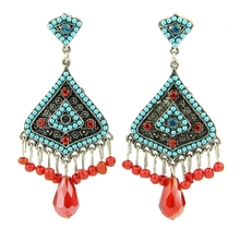 Red with Rhinestones modified sexy blue Pendant Earrings H154181(Hong Kong)