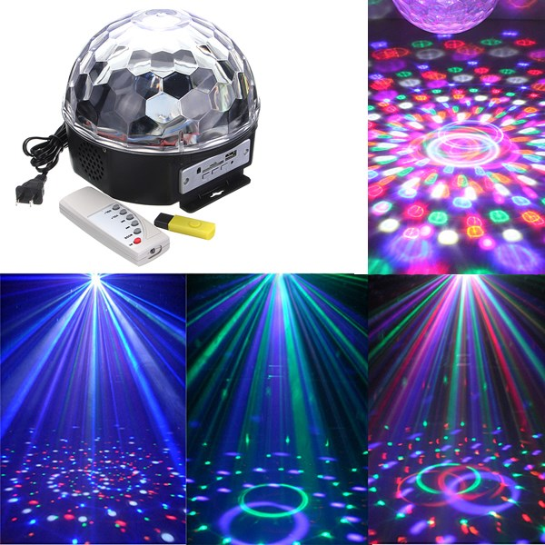 New Arrival RGB LED MP3 Crystal Magic Ball Stage Effect Light DJ Club Disco Party Lighting Music With USB Disk Remote Control(China (Mainland))