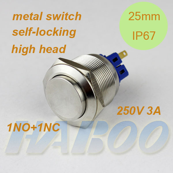 installation diameter 25mm metal push button switch 10pcs/lot  latching switch on-off IP67 anti vandal 250V 3A<br><br>Aliexpress