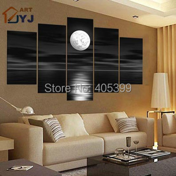 One Bright Moon Shine In Your Life ,Black and White Color Handmade Oil Painting Wall Art ,Love Art Homedecoration JYJHS001