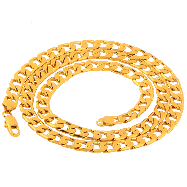 Free Shipping Long 18K Gold Plated Men's Curb Chain Necklace Length:60CM Width:7mm, Wholesale Jewelry, No. C679(China (Mainland))