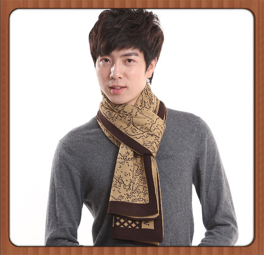 Japan Imported Brand Cashmere Wool Knit Scarf Men Designer Business Winter Warm Scarves for Man 180*45cm Christmas GIFT 2014(China (Mainland))