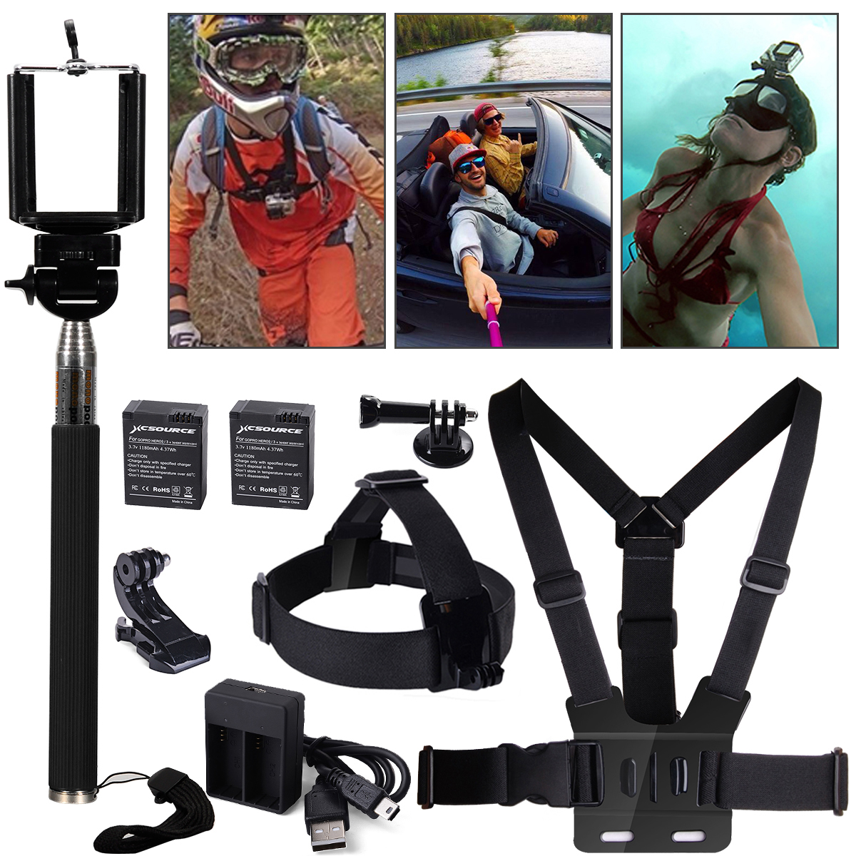 10in1 Accessories Kit Head Chest Mount Bettery Charger Monopod For GoPro 1 2 3 4 Camera OS233(China (Mainland))