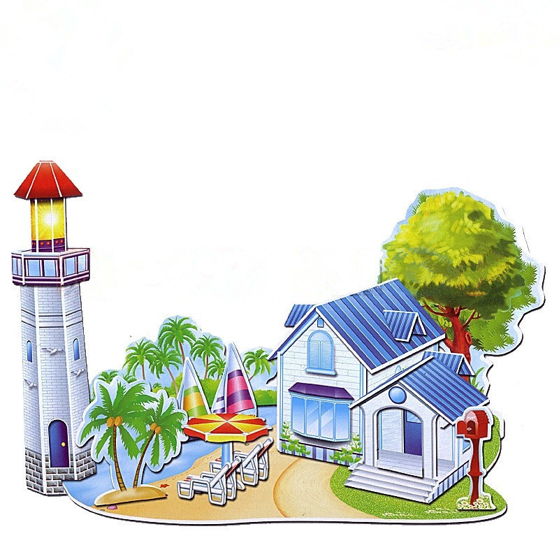 DIY 3D Jigsaw Puzzle Educational and Learning Game for Kids Toys for Preschoolers House Paper Model,689J,Free Shipping(China (Mainland))