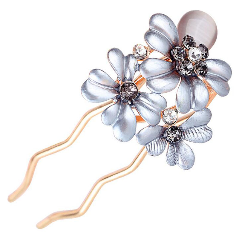 Girl Opal Rhinestone Comb Hair With Flowers Oil Drop Jewelry Barrette Ponytail Spring Combs(China (Mainland))