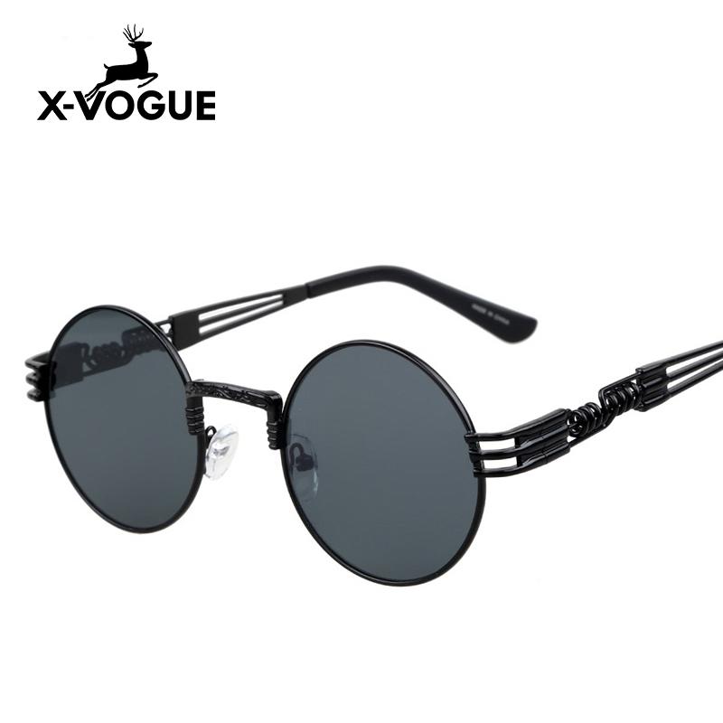 X-VOGUE Retro Optical Round Sunglasses Steampunk Women Men Brand Designer Multi Color Lens Girls Sun Glasses Oculos De Feminino(China (Mainland))
