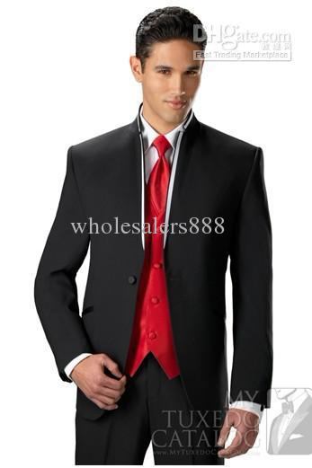 Latest Style Wool Blend One Buttons Black Groom Tuxedos Best Man Groomsmen Men Wedding Suits Bridegroom (Jacket+Pants+Tie+Vest)(China (Mainland))