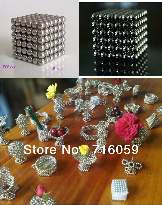 Free Shipping novelty neocube magnetic balls 216 pcs diameter 5 mm buckyballs Neodymium Cube Magnet silver color(China (Mainland))