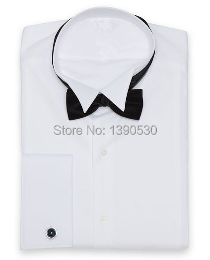 2015 100% cotton pure white tuxedo collar with french cuff and concealed placket men's wedding tuxedo shirt(China (Mainland))