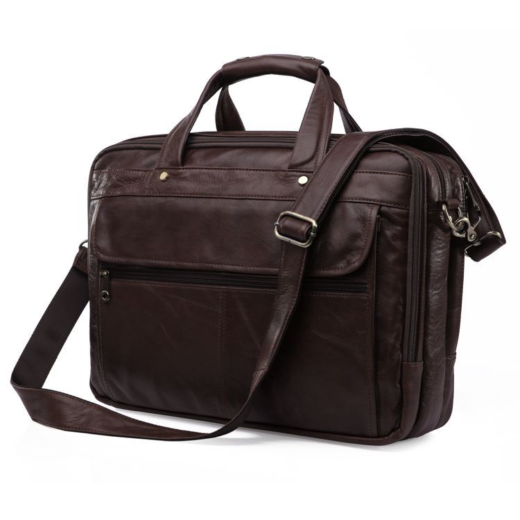 High Quality Vintage 100% Real Genuine Leather Men Briefcase Messenger Bags