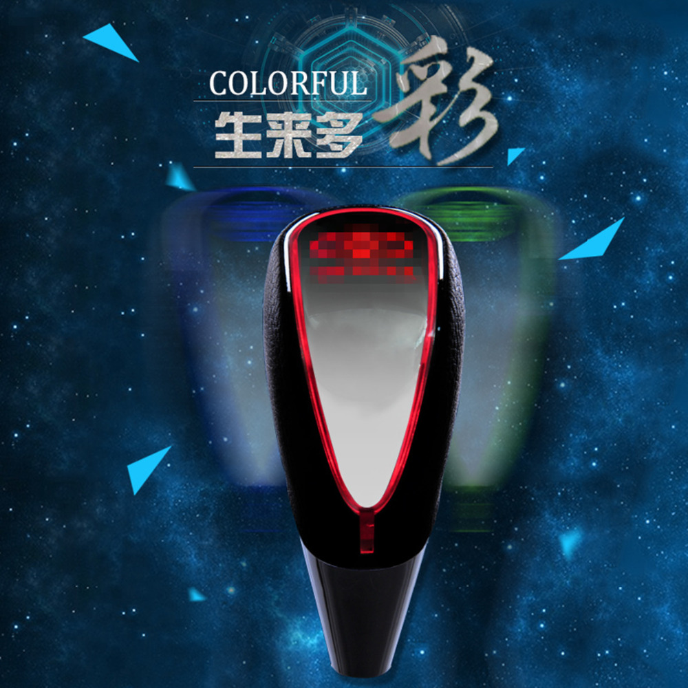 Фотография Universal Car Gear Shift Knob Touch Activated Ultra Multicolor LED Light Black Faux Leather Lever With Car Logo Customizable