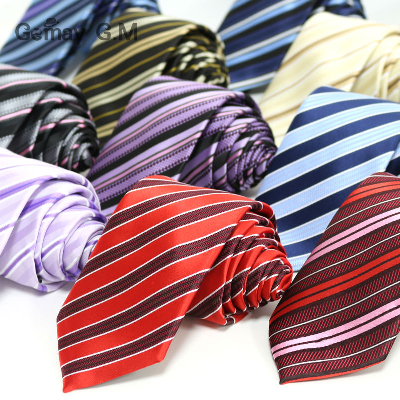 New polyester Microfiber woven Men's Neckties fashion Classic Striped ties for man 7.0 width Neck Tie Free Shipping Wholesale(China (Mainland))