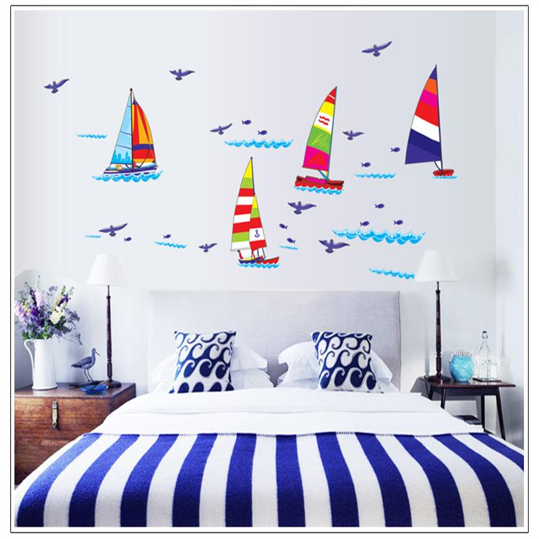 colorful cartoon Sailboat blue birds ocean home decal wall sticker for kids room decor nursery washroom decoration wallposter(China (Mainland))