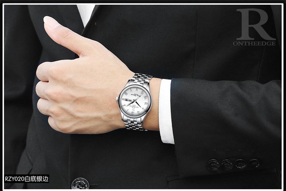 Fotina Лучший Бренд R Часы Парни Весь Из Нержавеющей Стали Классический повседневная Бизнес Смотреть Мужчины Спорт День Дата Часы Часы Relogio Masculino