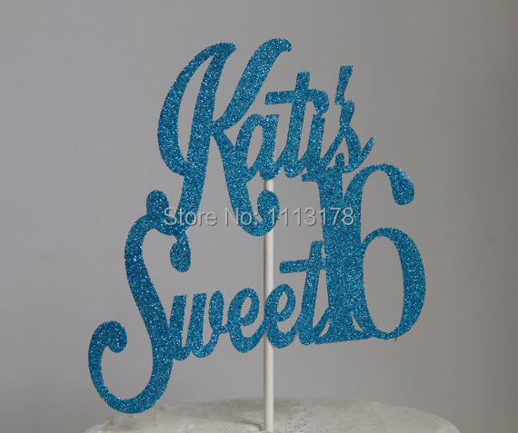 Personalized Glitter Sweet 16 Birthday Cake Topper glitter Cake Topper Design name age birthday Cake Toppers(China (Mainland))