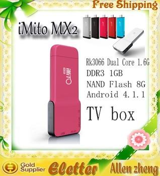 iMito MX2 Dual Core Mini PC Android 4.2.2 TV Box RK3066 Built-in Bluetooth 1GB RAM 8GB ROM black  free shipping
