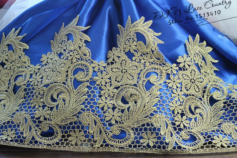 Free shipping 5Yards/lot Victorian Antique Gold Embroidery Lace Trim in Metallic Gold for Bridal,Wedding Gown, Costume design(China (Mainland))