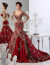 2016 New Gorgeous Red Mermaid Arabic Evening Dresses Two Pieces Dubai Kaftan Appliques Formal Party Dresses Prom Gowns 35(China (Mainland))
