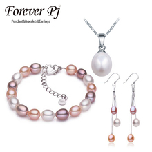 Summer Style Mix Color Long Earring/Bracelet/Pendant Sets 925 Sterling Silver Tassel Earring White Pink Purple Natural Pearl(China (Mainland))