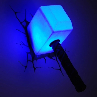 URVOI 2015 new arrival LED night light 3D decorated the avengers alliance thor hammer creative light for children IL04(China (Mainland))