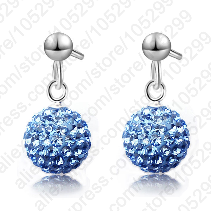 Wholesale Fast Ship 925 Sterling Silver Austrian Pave Disco Ball Shamballa Stud Earring 925 Stamped Woman Jewelry Multi Colors(China (Mainland))