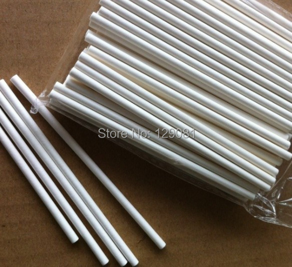 150mm*4mm Pop Sucker Sticks Chocolate Cake Lollipop Lolly Candy Making Mould White 100 pcs(China (Mainland))