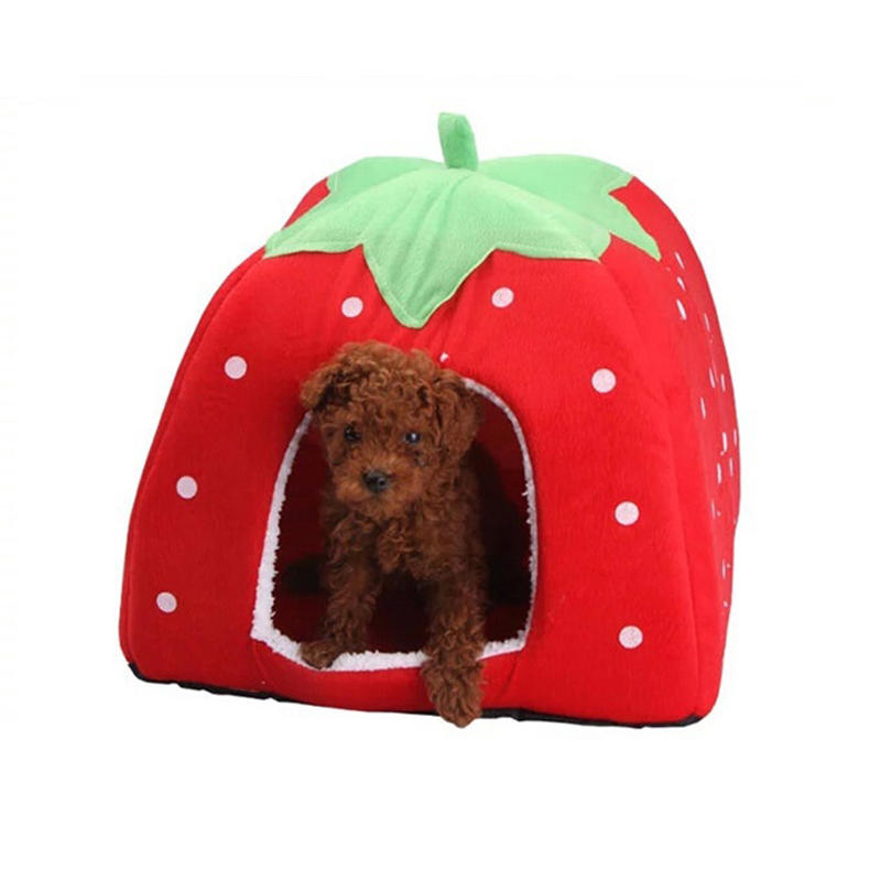 New Pet Supplies High Quality Dogs House Soft Strawberry Cats Rabbit Beds House Kennel Doggy Warm Cushion Basket for Puppy Home(China (Mainland))