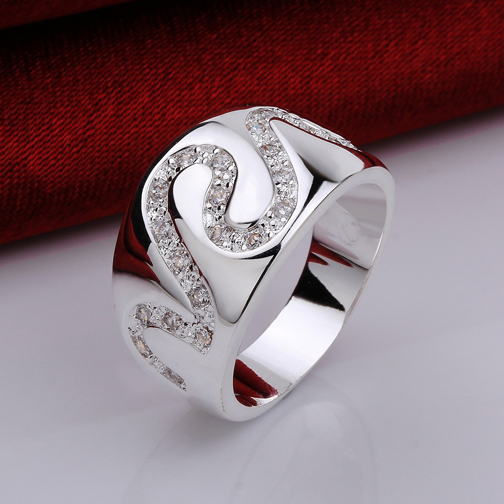 2015 new design 15 pieces/lot copper metal Silver clear Zircon The snake shape pattern bague femme ring for date(China (Mainland))