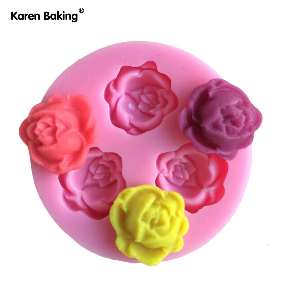 3D Silicone Beautiful Rose Shape Fondant Cake Molds Soap Chocolate Mould For The Kitchen Baking C330(China (Mainland))
