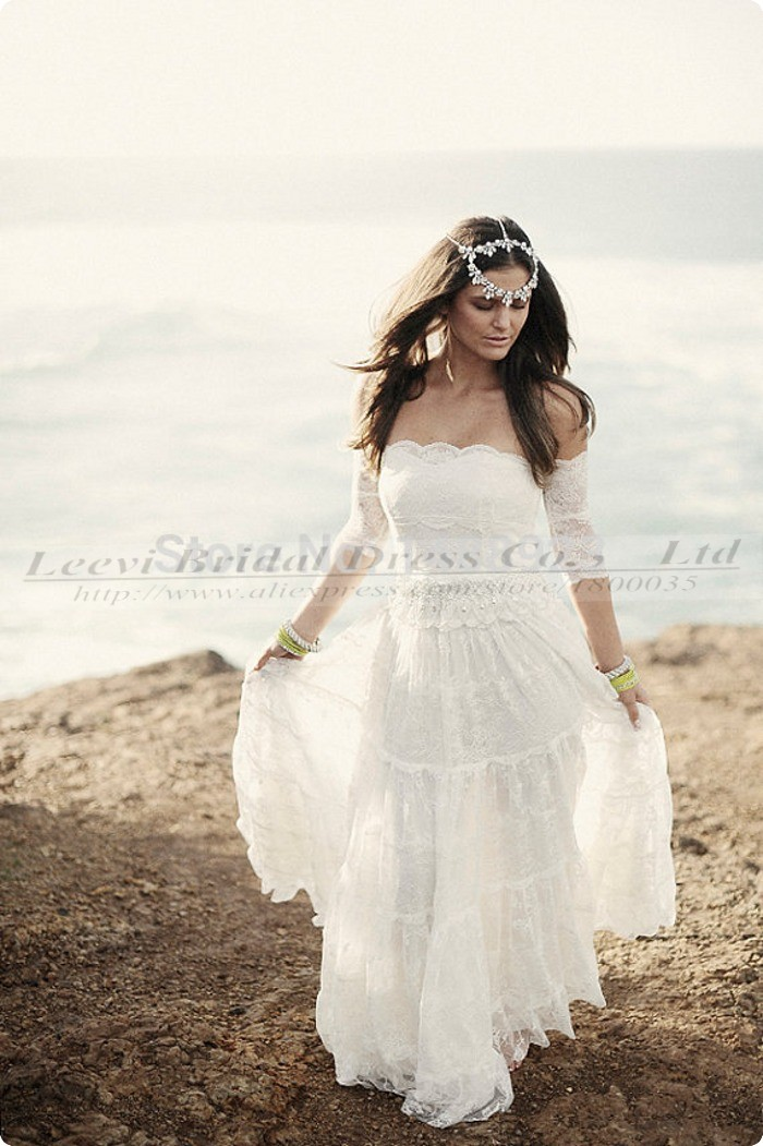 Vestido de noiva renda vintage simples cheap sexy boho for Boho country wedding dress
