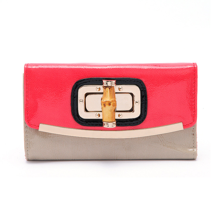 2015 famous brand designer bamboo wallets women patchwork patent leather pink lock day clutches purses high quality tri fold bag(China (Mainland))