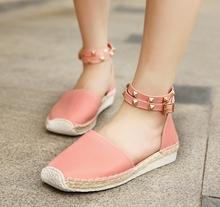 2015 euro 35~43 women ankle strap sandals rivets decoration breathable insole pu leather women low flat shoes