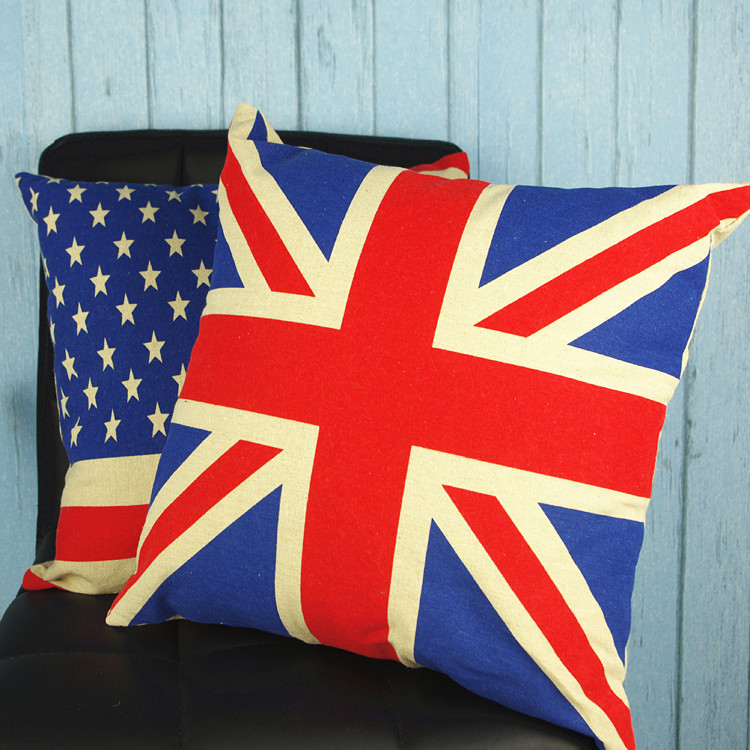 Manufacturers custom car flag cotton fabric pillow cover without the pillow cushions office(China (Mainland))