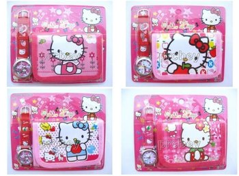 XMAS Gift  Cute 10 sets Hello kitty Watches wristwatches with XMAS Gift + Purses Wallets