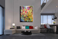 Abstract modern canvas wall art handpainted colorful large vertical oil painting on canvas brush for living