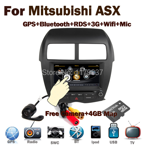 "8"" HD Digital Touch Screen MITSUBISHI ASX radio Car GPS Navigation with Wifi 3G Bluetooth Radio RDS USB SD IPOD SWC Free Camera(China (Mainland))"