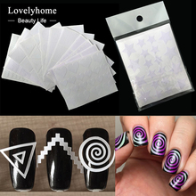 12Pcs Nails Sticker Stencil Tips Guide French Swirls Manicure Nail Art Decals Form Fringe DIY Sencil 3D Styling Beauty Tools(China (Mainland))