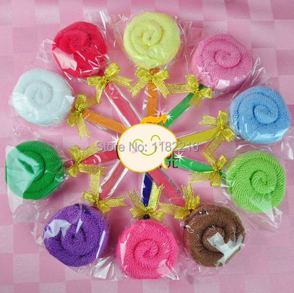 10 X Cute Solid Color Bowknot Candy Lollipops Cake Towel Creative Small Lollipops Towel Many Color Wedding Gifts Free Shipping(China (Mainland))