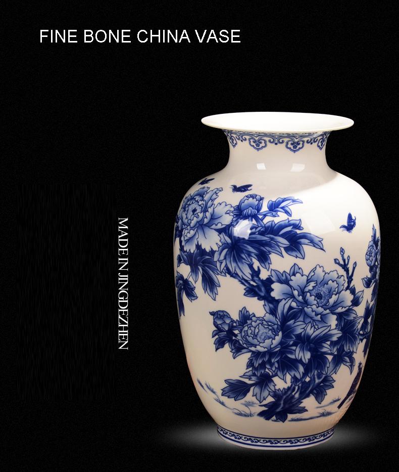Jingdezhen Blue And White Porcelain Vases Fine Bone China Vase Peony