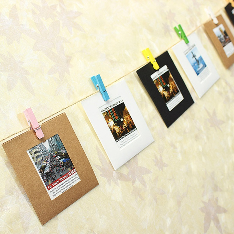 New Memorial Photo Album Galley 10PCS 3 Inch Lovely Paper Frame Film Wall Hanging Clips With Hemp Rope Pictures(China (Mainland))